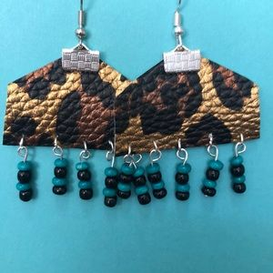 Leather earrings with beaded accents